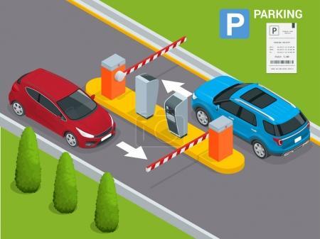 Illustration pour Station de paiement Isometric Parking, concept de contrôle d'accès. Des guichets automatiques de stationnement et des opérateurs de barrière sont installés à l'entrée et à la sortie de l'aire de stationnement comme outils pour facturer les frais de stationnement - image libre de droit