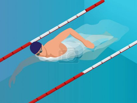 Isometric Fit Swimmer Training in the Swimming Ppool. Vector illustration Professional Male Swimmer