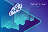 Cryptocurrency and blockchain isometric concept Isometric vector illustration Business financial concept Showing the cryptocurrency or digital money