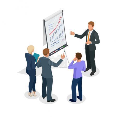 Illustration pour Groupe isométrique de gens d'affaires qui regardent le graphique sur le tableau à feuilles mobiles. Homme d'affaires donnant une présentation sur tableau à feuilles mobiles. Concept vectoriel de travail d'équipe - image libre de droit