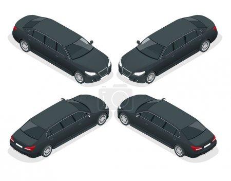 Illustration pour Limousine noire isométrique isolée sur blanc. Modèle vecteur d'icône de limousine. Transport de personnes premium. Avant, vue arrière . - image libre de droit