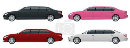 Illustration pour Limousines blanches, noires, rouges, roses isolées sur blanc. Modèle vecteur d'icône de limousine. Transport de personnes premium. Côté Viev - image libre de droit