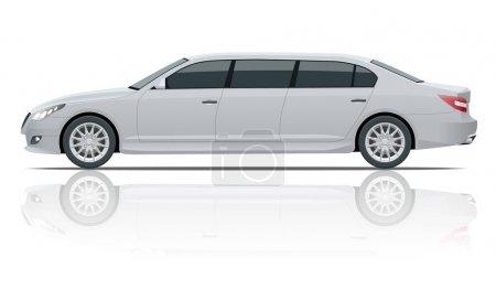 Illustration pour Limousines blanches isolées sur blanc. Modèle vecteur d'icône de limousine. Transport de personnes premium. Côté Viev . - image libre de droit