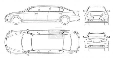 Illustration pour Ensemble de limousines blanches isolées sur blanc. Modèle vecteur d'icône de limousine. Transport de personnes premium. Viev, avant, arrière, côté - image libre de droit