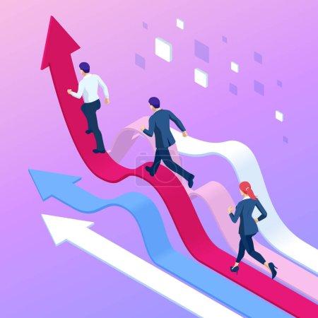 Illustration pour Des gens d'affaires idiots qui courent vers les supérieurs. Concept de concurrence des entreprises. Manager a sauté les flèches en grandissant avec vigueur - image libre de droit