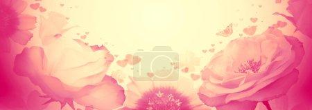 Photo pour Carte de Saint Valentin. Roses roses et fleurs fond . - image libre de droit