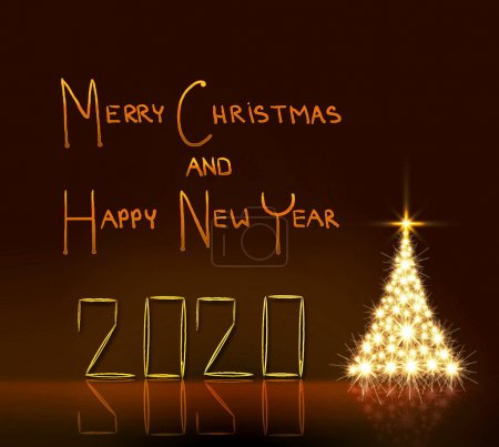 Photo for Golden Christmas tree .New Year 2020 background. - Royalty Free Image