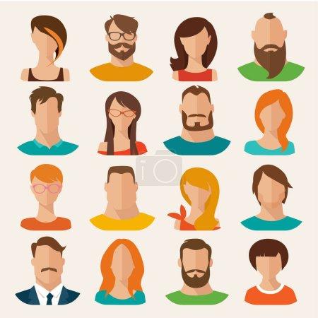 Illustration pour Ensemble de personnages plats masculins et féminins. Illustration vectorielle - image libre de droit