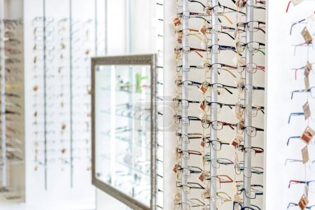 Different types of eyewear on shelves
