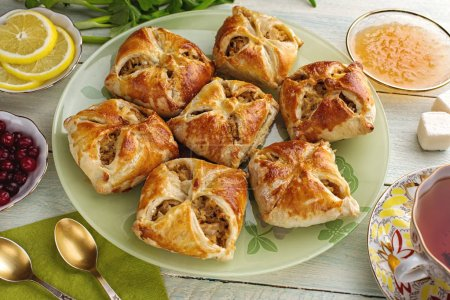 Russian open baked pirozhki patties with filling d...