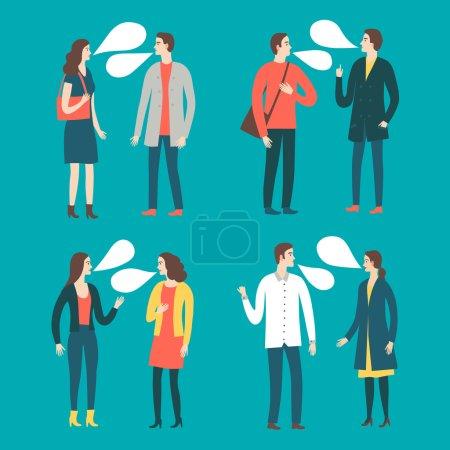 Set of talking cartoon people in various lifestyles