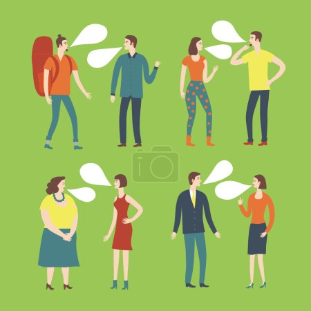 Illustration for Set of cartoon speaking people in various lifestyles having a dialog.  Characters illustrations with speech bubble. - Royalty Free Image