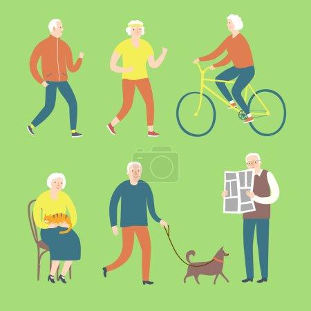 Cartoon old people spending leisure time