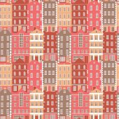 Vector seamless pattern with colorful European style houses Architecture background
