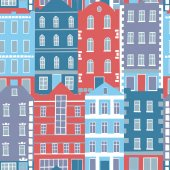 Hand drawn seamless pattern with colorful houses