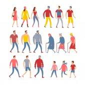 Sada karikatury lidí v sezónní oblečení
