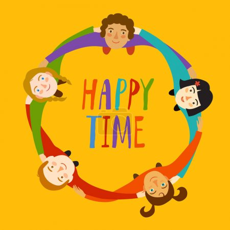 Illustration pour Des enfants heureux se serrant les uns contre les autres debout en cercle. Illustration de bande dessinée sur l'unité et pour votre design . - image libre de droit