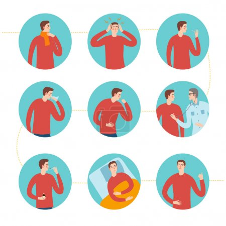 Illustration pour Étapes du rhume et de la grippe. Y compris symptômes et traitement. Illustration vectorielle informative des soins médicaux . - image libre de droit