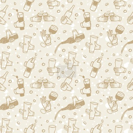 Pattern with  hands holding drinks and bottles