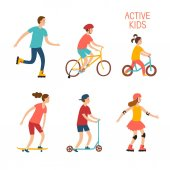 Summer activities cartoon set Active kids riding and playing outdoorCharacters illustration for your design