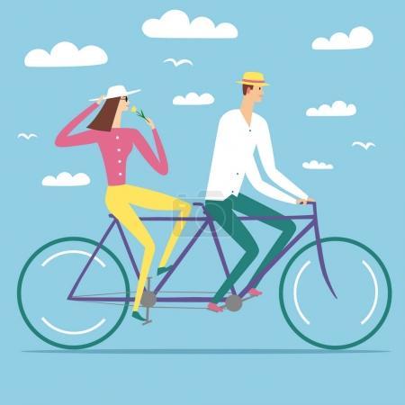 Illustration pour Paire de dessins animés heureux dans l'amour vélo tandem. Amour et illustration romantique pour votre design . - image libre de droit