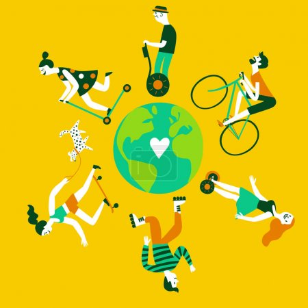 Illustration for Cartoon people using transport like bicycle, skateboard, personal transporter, hoverboard, roller skate. Green planet conception. Illustration about ecology for your design. - Royalty Free Image
