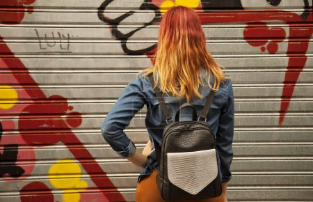 Woman with multicolored hair