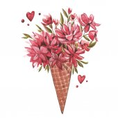 Watercolor illustration of a wafer cone flowers, summer print, ice cream cone. Watercolor Pink set of elements for Valentines day. Scrapbook design elements.