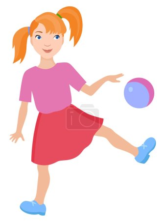 Cartoon playing girl
