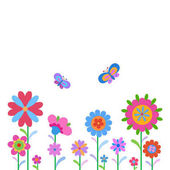 Cheerful happy flowers and butterflies painted in naive manner