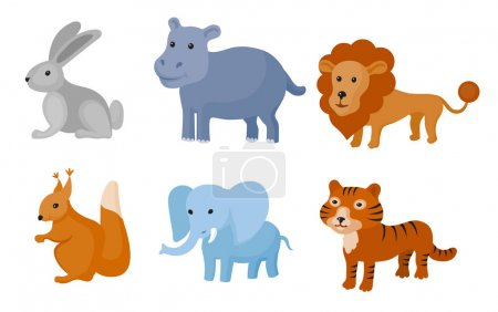 Zoo wild animals colorful set