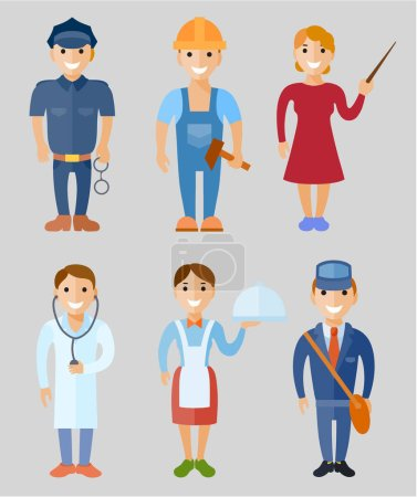 Photo pour Illustration vectorielle ensemble de personnes de différentes professions : policier, travailleur, enseignant, médecin, serveuse, facteur à plat - image libre de droit