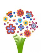 Naive style colorful flowers arrangement in the form of a bouquet