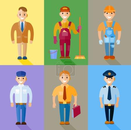 Photo pour Ensemble de personnages de dessins animés de différentes professions - image libre de droit