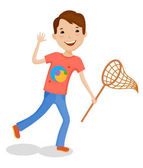 Little cartoon funny boy in bright clothes with net for butterflies