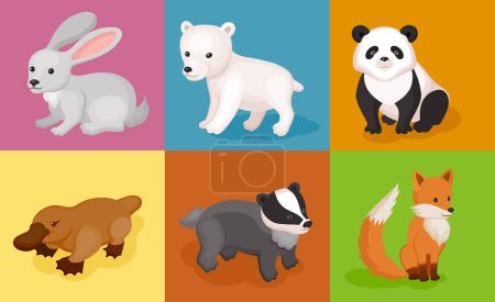 Illustration for Zoo wild animals colorful set. Mammals and marsupials on multicolored background - Royalty Free Image