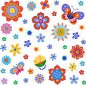 Background with native style colorful flowers and butterflies