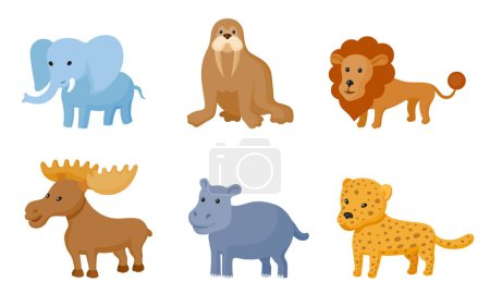 Illustration for Zoo wild animals colorful set. Vector illustration. Mammals and reptiles  isolate on white background - Royalty Free Image