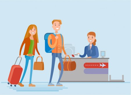Illustration for Young couple waiting for their turn at the check in counter at the airport, vector illustration - Royalty Free Image