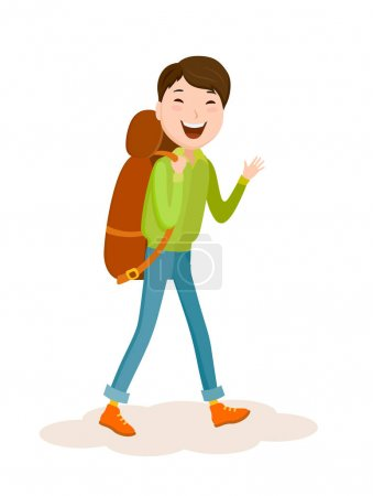 Cartoon young man with backpack