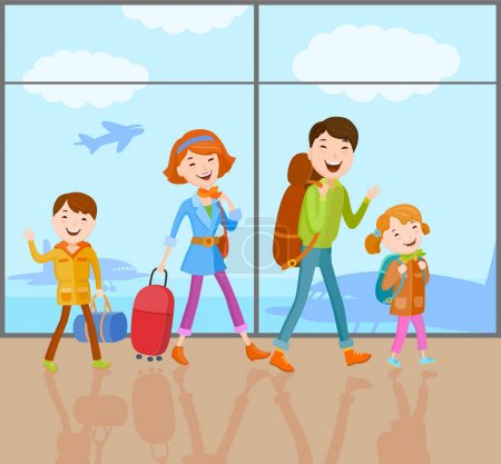 Cartoon vector family going on journey