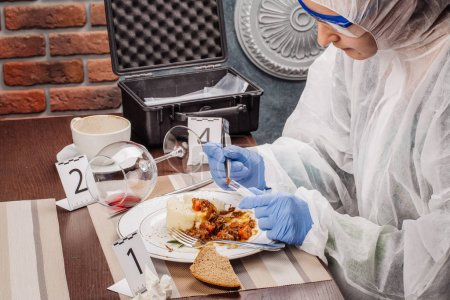 Photo for Crime scene investigation - collecting evidence from the crime scene - Royalty Free Image