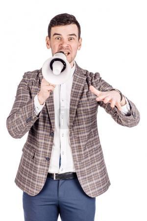 man holding megaphone. human emotion expression