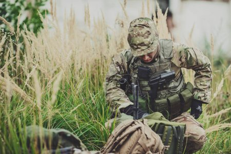 Army rangers during the military operation in the forest