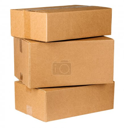 three carton boxes on white