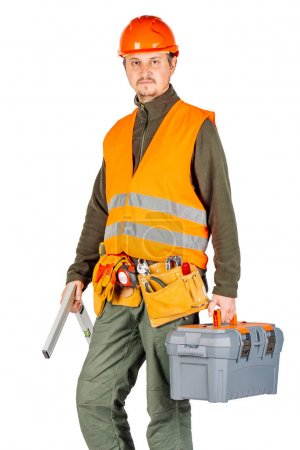 construction worker in a helmet  with toolbox