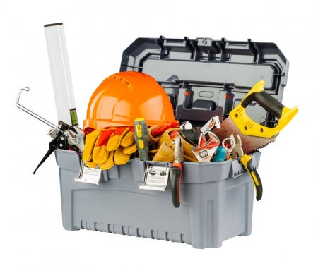 grey toolbox with orange helmet