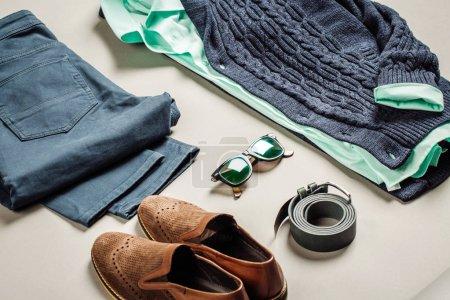 casual men fashion set: jacket, shirt, jeans, belt, shoes sweate
