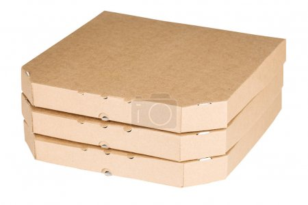 packing boxes with pizza on a white background