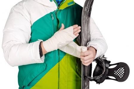 Close-up man is bandaging his upper limb.